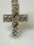 18kt Yellow Gold And Sterling Silver Basket Weave Cross Pendant
