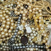 Vintage Junk Lot Jewelry Faux Pearls And Beads Craft Harvest Small Flat Rate Box