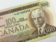 1975 Replacement Banknote Canada 100 Dollar Circulated Jc Lawson Bouey V228