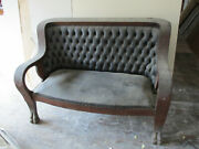 Authentic Edwardian Parlor Set With Original Tufted Leather 3 Pieces Sofa Chair