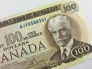1975 Replacement Banknote Canada 100 Dollar Circulated Ajx Crow Bouey V230
