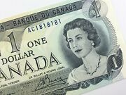 Two Digit Cycle Ac1818181 Canada 1973 One 1 Dollar Uncirculated Banknote V231