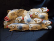 One Of A Kind Artist Hand Carved Pigs Pig Pile Farm Wild Boar Piglets Barn Sow