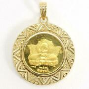 British Gibraltar Angel 1/10oz Coin 24k Gold 18k Pendant Top Free Shipping Used