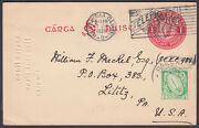 1938 Ireland / Eire Uprated 1d Red Stationery Postcard To Lilitz, Usa