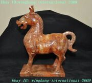 9rare Old Chinese Hetian Jade Carved Feng Shui Zodiac Animal Horse Steed Statue