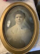 Antique Oval Bubble Glass Frame With Picture Of A Lady