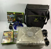 Xbox Original Limited Edition Crystal Clear Version 4 Games 1 Blue Controller