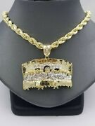 10k Yellow Gold Last Supper Charm Diamond Cut Design With Rope Chain In 24 Inch