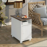 Modern Living Room Accent End Table Sofa Side Table With 2 Shelves Antique White