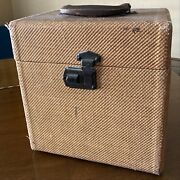 Vintage 1950's Tweed 10 78 Rpm Vinyl Record Carrying Case Tote Boxgreat Shape