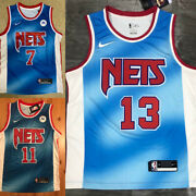 Brooklyn Nets 11 Irving 13 Harden 7 Durant Mens City Edition Blue Jersey2