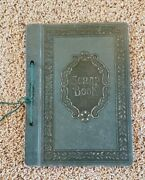 """Scrapbook Photo Album Used Empty Green Vintage Faux Tooled Leather 8.5""""x11.5"""""""