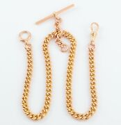 Antique 9ct Rose Gold Curb Link Double Albert Watch Chain 15and039and039