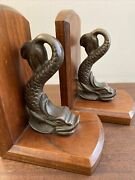 Vintage Heavy Brass On Wood Dolphin Bookend Pair Usn Submarine Warfare Insignia