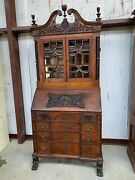 Beautiful Antique Secretary Desk Bookcase With Beveled Glass Top Local Pick Up