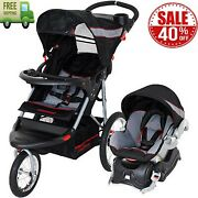 Black Red Baby Trend Expedition Jogger Travel System Stroller Infant Car Seat