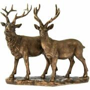 Leonardo Reflections Bronzed Highland Stag And Deer Bronze Effect Ornament Resin