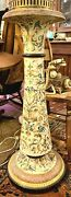 Antique Italian French Plant Stand Hand Painted Ceramic Tall Bold