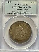 1836 O.116 50/00 Capped Bust Half, Pcgs Xf-45 Beautiful Toning Underlying Luster