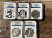 2011 Us Mint 25th Anniversary Silver Eagle 5 Coin Set Early Release Ngc Pf/ms 69