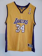 Champion Nba L.a. Lakers Basketball Jersey Youth Sz L. 34 Shaquille Oand039neal