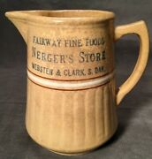 Red Wing Pottery Advertising Pitcher Nergers Store Webster And Clark South Dakota