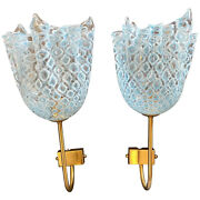 1980s Set Of Two Mid-century Modern Murano Glass Wall Sconces By The Murrina