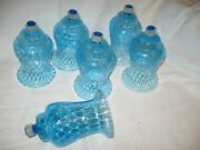 6 Vintage Homco Home Interior Light Blue Glass Candleholders Wall Sconces