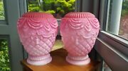 Rare Pair Antique Cranberry Pink Triple Cased Glass Heater Oil Lamp Shades 6