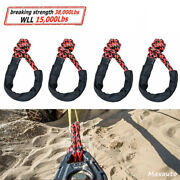 4pcs 1/2 Tow Straps Rope Recovery 38,000 Lbs Synthetic Soft Shackle Atv Utv