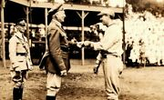 Vintage 1920and039s Military 3rd Engineers Photo - Baseball Player Greets Commander