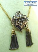Antique Victorian 1870and039s 14k Yellow Gold Enamel And Seed Pearl Pendant Necklace.