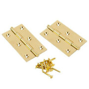 2 - 1/2 X 2 - 1/2 Polished Solid Brass Button Tip Hinge Vertex Pair 930183