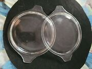 2 Vtg Pyrex Lids Only 470-c Tab Handles Clear Glass Round Used 470c