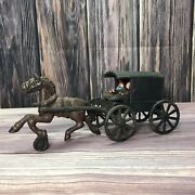 Vintage Antique Cast Iron Amish Quaker Family Horse-drawn Carriage Wagon Buggy
