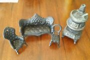 Vintage 1960s Cast Iron Doll Furniture And Pot Belly Stove Toys
