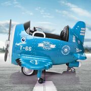 Tobbi 12v Electric Ride On Plane Toy With Foldable Wings Remote Control Blue