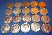 1968 Kennedy Silver Half Dollar Roll Very Fine - Almost Uncirculated 20 Coins