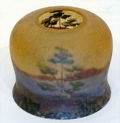 Antique Reverse Painted Arts Crafts Small Boudoir Lamp Shade Glass Globe Handel