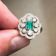Cocktail Retro Antique Wedding Ring 2.65 Ct Green Emerald 14k White Gold Over