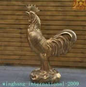 Huge Chinese Feng Shui Brass Lucky Wealth Coin Zodiac Animal Chicken Cock Statue