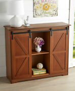 Farmhouse Barn Door-style Buffet Sideboard Cabinets Rustic Wood Or Antique White