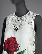 Nwt Dolceandgabbana Graphic Print Rose Embroidered Dress It44 Us6-us8 11000o