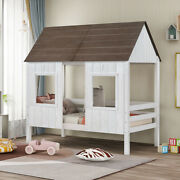 Twin Size Low Loft Bed Wood House Bed W/window Roof Kids Teens Playhouse Bedroom