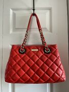 Kate Spade Maryanne Rojo Red Quilted Smooth Leather Chain Shoulder Bag Purse Med