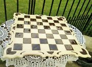Vintage Large Table Top Ceramic Chess Board Brown / Cream White Mosaic Tile Wood
