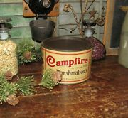 Antique Vtg Campfire Marshmallows Early Version With Lid Advertising Tin Kitchen