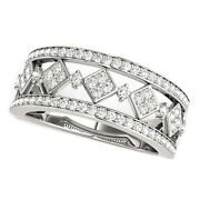 Diamond Studded Square Motif Ring In 14k White Gold 1/2 Cttw