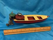 """Vintage Marx Toy Steel Boat 12 1/2"""" Long With Rare Outboard Motor - 1930's Era"""